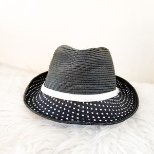 Fashion hat black and white with Polka dots